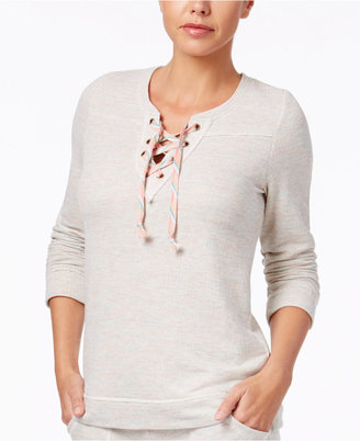 Lucky Brand French Terry Lace-Up Pullover Pajama Top $48 thestylecure.com