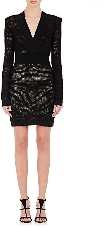 BalmainBalmain Women's Tiger-Striped Mesh & Knit Dress-Black