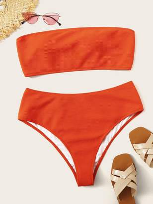 Shein Plus Bandeau Top With Textured Bikini Set
