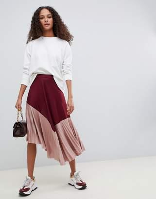 Asos DESIGN pleated hem midi skirt in color block