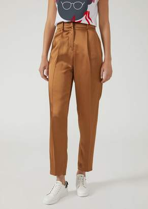 Emporio Armani Double-Faced Smooth Satin Trousers With Darts