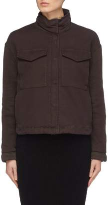 James Perse Retractable hood flap pocket canvas cropped jacket