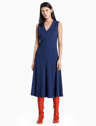 Calvin Klein ribbed cotton stretch v-neck sleeveless dress
