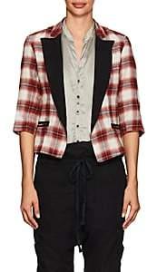 Greg Lauren Women's Wrangler Plaid Cotton Flannel Jacket-Red