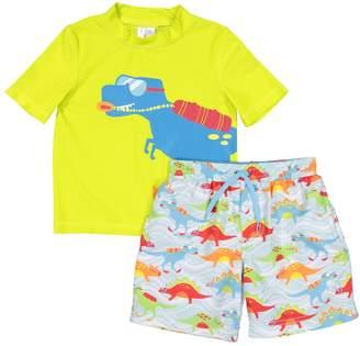 d4714a2e02 Trunks Toddler Boy Kiko & Max Dinosaur Rash Guard Top & Swim Set