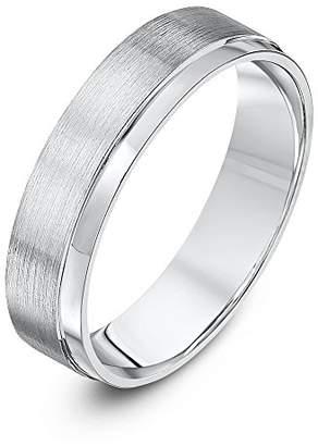 Theia Palladium 950 - Heavy Weight, Matt and Polished, 5mm Wedding Ring - Size S