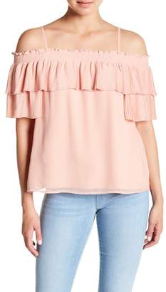 Jessica Simpson Chris Cold Shoulder Pleat Blouse