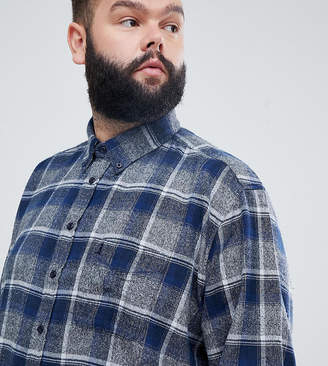 North 56.4 Plus brushed checked shirt in blue