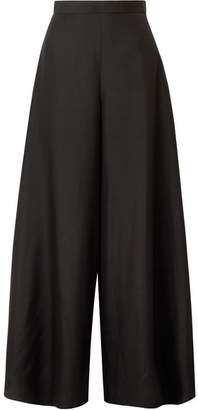 The Row Elle Silk-organza Wide-leg Pants - Black