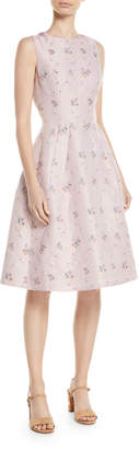Carolina Herrera Sleeveless Fit-and-Flare Floral-Embroidered Dress