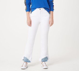 Peace Love World White Denim Jeans with Contrast Hem