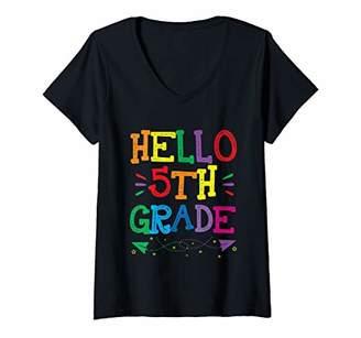 Womens Hello 5th Grade Teacher Kids Back to School Gift Fifth Grade V-Neck T-Shirt
