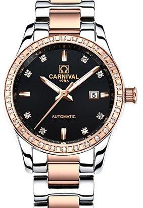 Carnival カーニバルレディースダイヤモンド自動マシンローズゴールドステンレススチールサファイア防水レディースブラック時計
