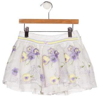 Blumarine Girls' Embroidered A-Line Skirt