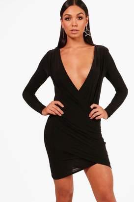 boohoo Slinky Drape Front Bodycon Dress