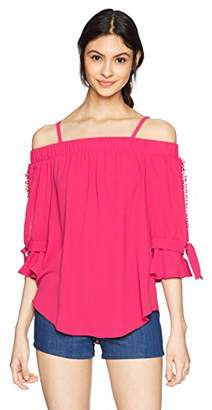 Amy Byer A. Byer Junior's Off The Shoulder Split Sleeve Top (Junior's)
