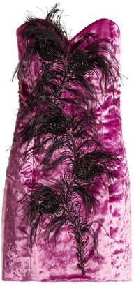 ATTICO Feather Trim Velvet Bustier Dress - Womens - Fuchsia