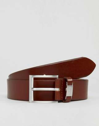 BOSS Connio leather logo keeper belt in tan