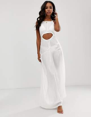 Asos Design DESIGN beach maxi dress in crinkle with strappy waist detail