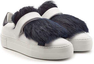 Moncler Victoire Leather Sneakers with Lamb Fur