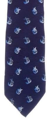 Loewe Sailboat Print Silk Tie