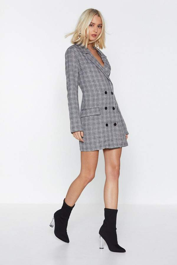 Totally Checked Out Blazer Dress