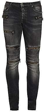 Unravel Project Men's Moonwash Moto Skinny Jeans