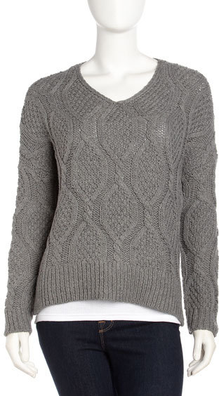 Romeo & Juliet Couture Chunky Cable-Knit Sweater, Charcoal