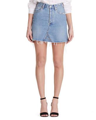 Citizens of Humanity Astrid High-Rise Frayed Denim Mini Skirt
