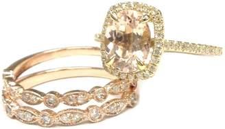 LOGR-Ring Sets Oval Cut Morganite Engagement Diamond Ring Set,14K Yellow/Rose Gold,7x9mm