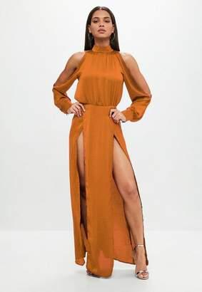 Missguided Rust Split Front Satin Maxi Dress