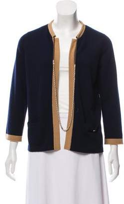 Chanel Cashmere Chain-Link-Accented Cardigan