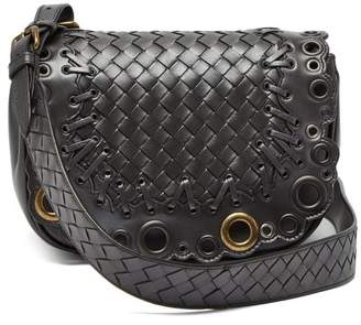 Bottega Veneta Luna Intrecciato Leather Cross Body Bag - Womens - Silver