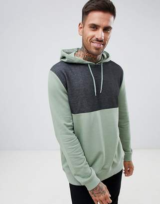 Asos DESIGN hoodie with interest fabric color blocking
