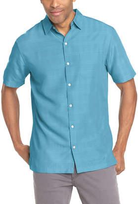 Van Heusen Mens Short Sleeve Grid Button-Front Shirt