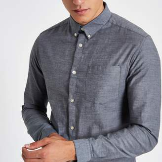 River Island Mens Grey muscle fit long sleeve Oxford shirt