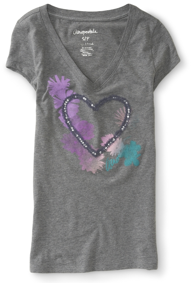 Aeropostale Floral Heart Sequin Mesh V-Neck Graphic T