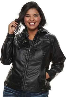 J 2 Juniors' Plus Size J-2 Removable Hood Faux-Leather Jacket