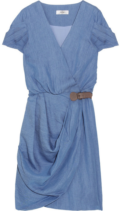 Tibi Chambray wrap dress
