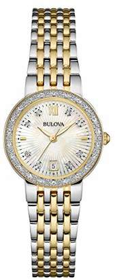 Bulova Womens Analogue Quartz Watch with Stainless Steel Gold Plated Strap 98W211