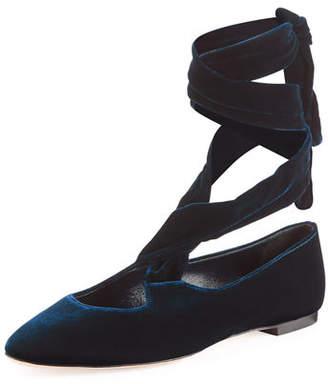 The Row Elodie Velvet Ankle-Wrap Flat