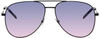 Saint Laurent Black Metal Aviator Sunglasses