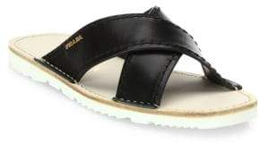 Prada Leather Crisscross Slides