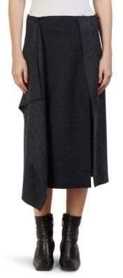 Cédric Charlier Wool Slit Midi Skirt