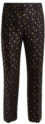 Rochas Cropped Cotton Blend Floral Jacquard Trousers - Womens - Black Multi