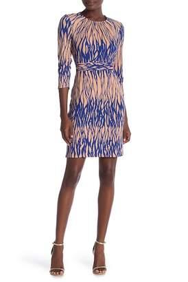 Amelia 3\u002F4 Length Sleeve Print Dress