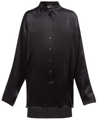 Ann Demeulemeester Stepped Hem Longline Silk Shirt - Womens - Black