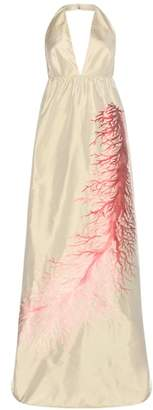 Valentino Embroidered silk-blend dress
