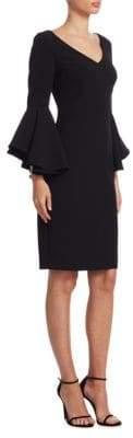 Badgley Mischka Flare-Sleeve Sheath Dress