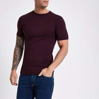 River Island Dark red muscle fit short sleeve T-shirt